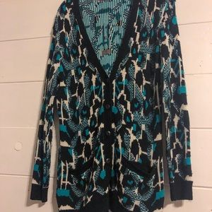Lush patterned teal and black sweater